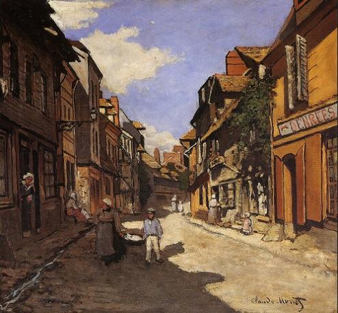 Claude Monet.La Rue de La Bavole en Honfleur,1864.Óleo sobre lienzo.58x63cm.Kunsthalle,Mannheim.Dos diagonales cruzan el lienzo para ganar en profundidad.Monet dió un giro a su trayectoria,no le movía su afán científico,trabajaba la instantaneidad.