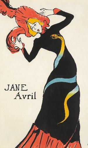 Toulouse Lautrec,Jane Avril 1899.Litografía en color basada, como la anterior en fotografías de Paul Sescau. The Albertina Museum, Viena.