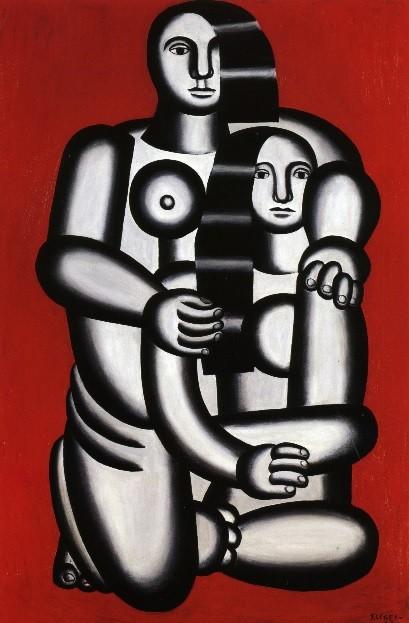 Fernand Léger.Desnudos sobre fuego rojo.Cubista de formas geométricas y simplificación de formas,incorpora la figura cilíndrica y cónica,se movilizó durante la guerra, para volver al éxito y convertirse en genio del arte europeo.