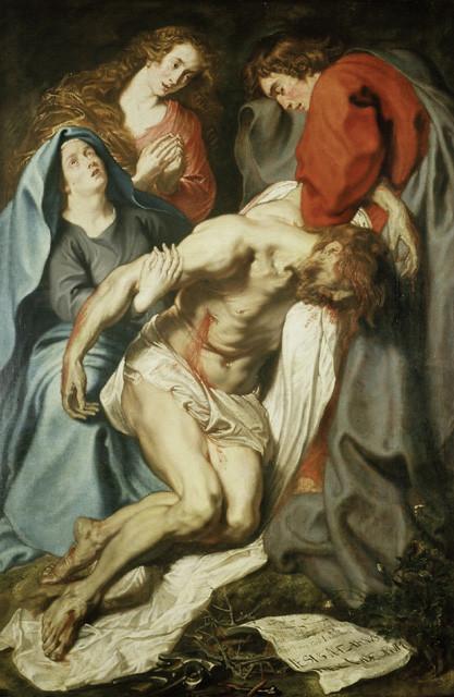 Van Dyck,1617.La Lamentación.207X137cm.Oxford. Profundo dramatismo,intensidad y emotividad en la captación del cuerpo de Cristo inerte apenas sostenido por s Juan.A los pies corona,clavos martillo y cartela INRI,buscando la atención del espectador.