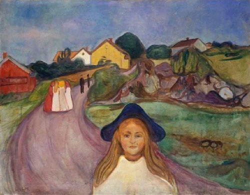 Edvard Munch.Calle de Aagaardstrand,1901.Supo convertir la naturaleza en fuente inagotable y potencial vital.Pintor y grabador noruego,precursor del expresionismo alemán.