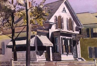 E Hopper,  Marty Welch´s House, 1928. Acuarela sobre papel. Colección privada. Cortesía de Guggenheim.