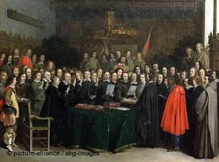 Paz de Westfalia, 1648, Tratado que significó el fin de la hegemonía española en Europa y el comienzo del expansionismo francés con Luis XIV. Se reconoce la independencia de las provincias holandesas de España.
