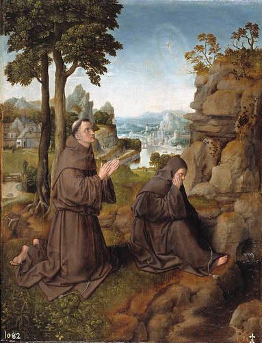 Maestro de Hoogstraten.San Francisco de Asis recibiendo los estigmas, hacia 1510.Óleo sobre tabla.46x36.Copia libre de un original de Jan van Eyck.