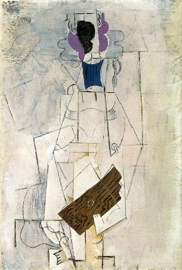 Mujer con guitarra.Óleo sobre lienzo.130x90cm. En 1911 Braque trabajó tres semanas con Picasso,supone la culminación del cubismo analitico.Pero esta obra pertenece al cubismo sintético1912-14:Cromatismo en tres planos coloreados con rosa,negro y azul.