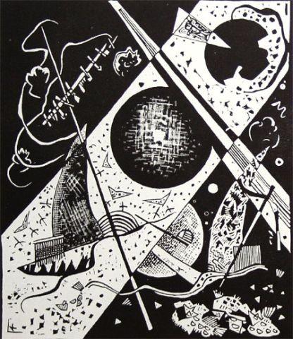Pequeños mundos VI,1922.Xilografia sobre papel.36x31cm.Legado de Nina Kandinsky 1981.