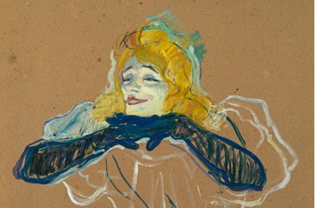 Lautrec. Yvette Guilbert cantando 1894.Pushkin Museum, Moscú.La teatralización de la vida urbana,elementos mórbidos y dacadentes con un atrevido lenguaje de síntesis y caricatura