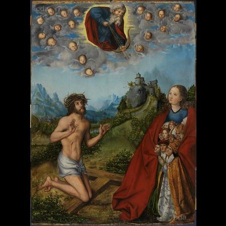 Lucas Cranach y taller.Cristo y la Virgen interceden por la humanidad.Arriba Dios Padre con su arco y 3 flechas(peste,hambruna y guerra)apuntan a estamentos sociales bajo el manto de la Virgen(obispo,cardenal,Papa)Todos buscan refugio ante calamidades.