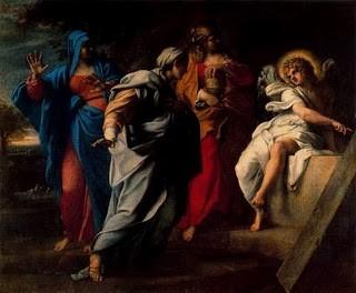 Annibal Carracci, Las Santas mujeres en la tumba de Cristo, 1597..En el evangelio se narra cómo las mujeres llegaron a la tumba de Cristo, al alba, un día posterior al entierro, para ungir su cuerpo, ellas se asustaron al verla vacía.¡ Ha resucitado!