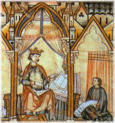 Miniatura de Alfonso X el Sabio, escuela de traductores de Toledo.Cantigas de Santa María.