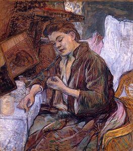 Toulouse Lautrec.Madame Fabre,1891. Pintura a la esencia sobre tabla,72x66cm.Nahamad Collection.Mónaco. El mundo íntimo de las prostitutas tratado no como moralizante sino de forma empática creando un ambiente intimista.