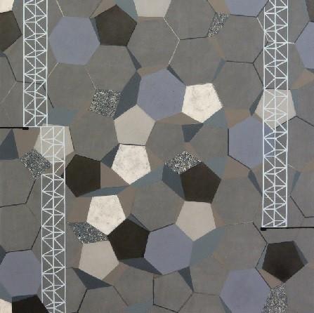 """Robert Di Matteo,máster de Bellas Artes en Yale.Carbono 13/Periodic Table.Acrílico y grafito y escoria de carbón sobre lienzo.71x71cm.Forma parte de proyecto con la tabla periódica de los elementos,pintura,guache,papel,grafito.""""El carbono es esencial"""""""