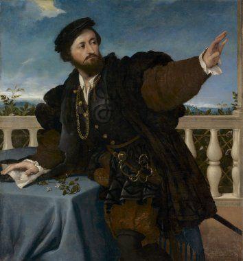 Retrato de un caballero 1535.Óleo 108x100cm.Cleveland Museum of Art. En una terraza al aire libre un personaje  conmovido por un estímulo repentino gira y levanta el brazo izquierdo,al fondo de la balaustrada un paisaje...era veneciano o de Bérgamo?