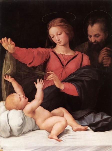 Oleo sobre tabla, Madonna del Velo o Nuestra Sra de Loreto, 1511,Rafael, Renacimiento italiano