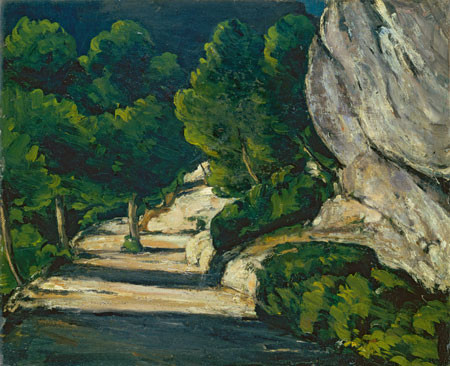 P.Cézanne.El camino del bosque.1870.Las curvas del camino introducen al espectador en el suspense,la sorpresa del promenade, el asombro ante lo nuevo...motivo que guarda relación con la experiencia real vivida, del caminante que era Cézanne.