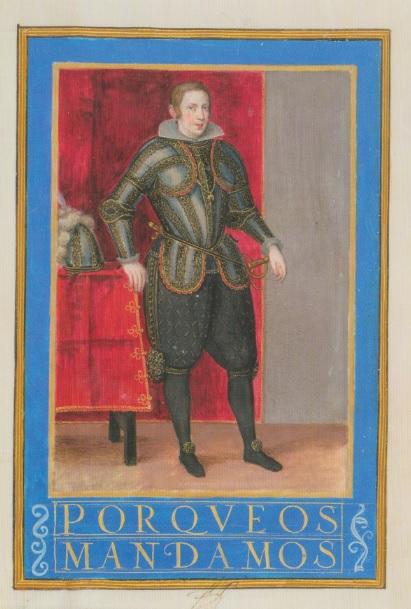 Carta ejecutoria de hidalguia para el capitán Domingo Castañeda. Valladolid. Manuscrito iluminado sobre pergamino.