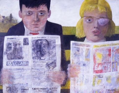 Peter Blake,Niños leyendo comics,1954.Óleo sobre conglomerado.36x47cm.Tullie House Museum and Art GalleyAutorretrato de Blake a partir de una fotografía de infancia con su hermana Shirley con un parche en un ojo
