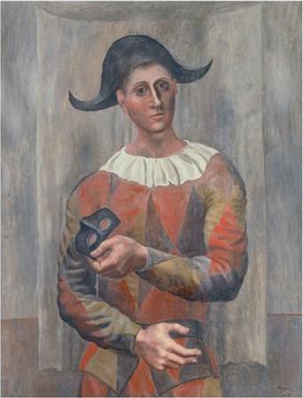 Picasso,arlequin au lup,1918.El motivo del arlequín, que tanto gustó a Picasso pintar, está presente en la exposición en el lienzo Arlequín con antifaz,de 1918 creado cinco años antes que El arlequín sentado o El pintor Jacinto Salvadó expuesto hasta sept
