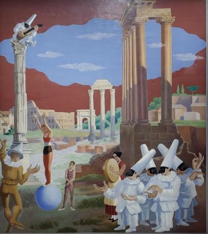 Gino Severini, El equilibrista,1928.Museo de Arte Contemporñaneo di Trento.Como si formaran parte de la comedia del arte y de la vida,en una escena dominada por el arte antiguo,metáfora de un tiempo lejano cuya perfección reside en una sola idea.
