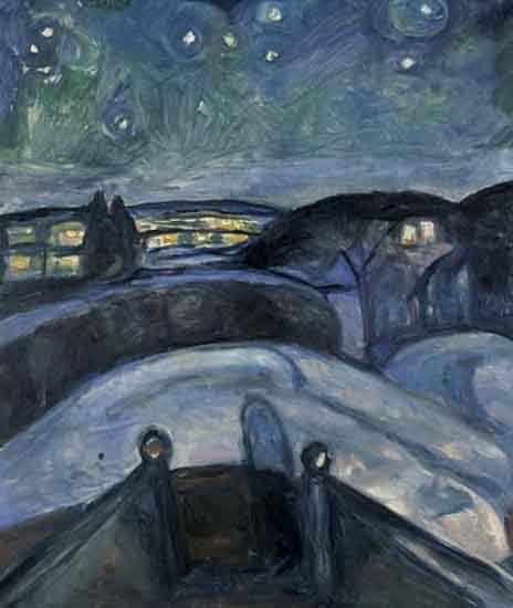 Noche estrellada,1922-24.Óleo sobre lienzo.140x119cm.Munch Museet, Oslo.
