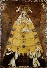 Escuela cuzqueña, Virgen del Rosario con Santo Domingo y Santa Rosa de Lima, 1750,Lima, Perú