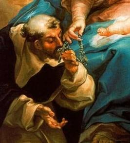 Detalle del lienzo de Vicente López en el que la Virgen entrega a Santo Domingo de Guzmán el rosario, aquel que propagaba ya esta forma de honrar a María, cada avemaría era una flor, una rosa, colección de rosas espirituales que más tarde llamaría ROSARIO