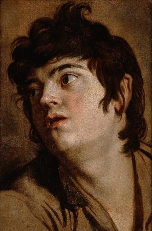 Cabeza joven.Óleo sobre papel montado en tabla.Austin Texas Museum. Con la boca entreabierta, el muchacho mira hacia su derecha,el cabello rizado castaño oscuro mientras una luz fuerte arroja sombras intensas.La mirada arrebatada recuerda a Caravaggio.