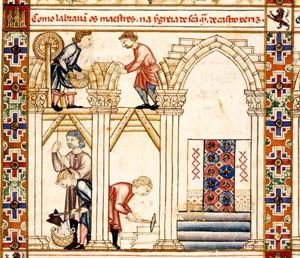 Detalle de las artes mecánicas y manuales. Cántigas de Alfonso X el Sabio.