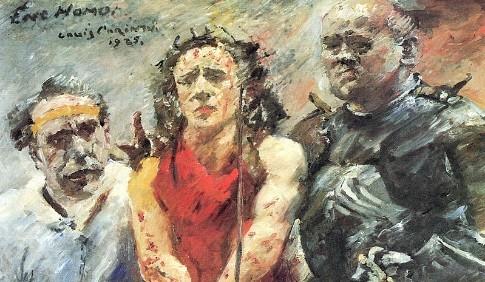 Detalle de Ecce Hommo de Lovis Corinth,1925.Dedica una atención particular a la Pasión y muerte de Cristo, pincelada violenta cercana al expresionismo,gran libertad a la hora de expresar iconografía tradicional,colores desenfocados,difusión de formas.