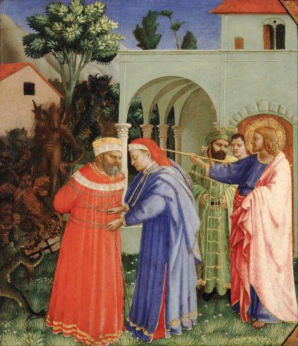 Este episodio en el que Santiago el Mayor libera al mago Hermógenes no se recoge en la Biblia, es probable que los comitentes lo conocieran por La Leyenda Dorada que escribió Jacobo de la Vorágine en el SXIII