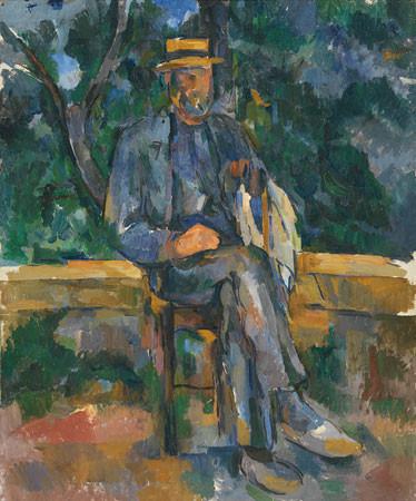 Podría tratarse del retrato del jardinero Vallier, sentado con las piernas cruzadas,la mano izquierda apoyada en un bastón,detrás un árbol y la vegetación del jardín.