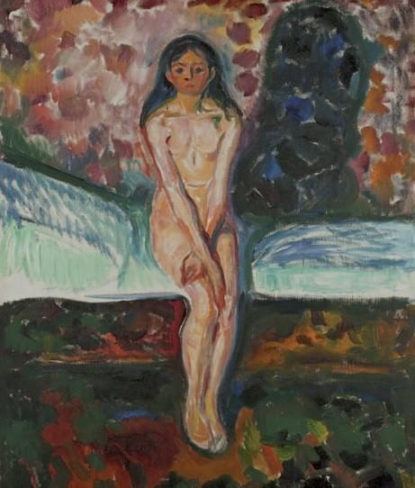 La pubertad,1914-16,lenguaje expresionista, colores y técnica relacionada con Van Gogh.El despertar de una mujer y su sexualidad,mujer inocente, con una gran sombra detrás proyectada en la pared, de lo que será el dia de mañana.