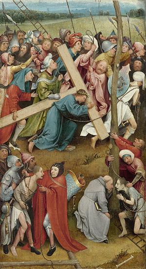 Óleo sobre tabla,59x32cm.Esta tabla era el ala izquierda de un tríptico perdido,de perfil curvo,se cortó para darle a la obra su forma rectangular. Cristo carga la cruz mientras una veitena de personas le zarandean en su camino hacia el Gólgota.
