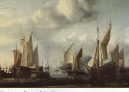 Willem Van de Vellde el joven, Marina 1654. oleo sobre lienzo.44x65cm. Uno de los pintores holandeses más importantes del XVII y consumado especialista, intensidad y resplandor atmosférico, virtuosismo cromático.
