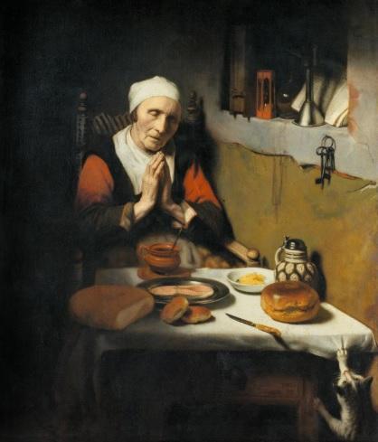 Nicolas Maes.Anciana bendiciendo la mesa 1656.Óleo sobre lienzo 134x113cm.Amsterdam Rijksmuseum.