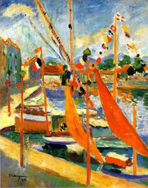 """Henri Manguin.El 14 de Julio en Saint-Tropez,lado izquierdo.1905.Colección particular.La búsqueda d una mayor libertad pictórica que le permitiera ir más allá de la rigidez neoimpresionista, le hizo combinar las pequeñas""""teselas""""con pincelcolores planos"""