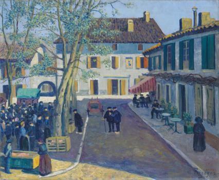 Fin del mercado en Dax.1909.Óleo sobre lienzo.50x61cm.Museo de Bellas Artes de Bilbao.