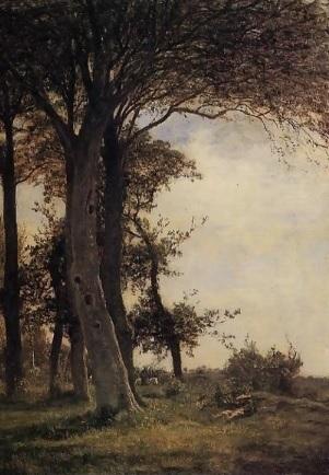 Eugène Boudin.Honfleur,la Côte de Grâce 1856.Óleo sobre tabla 60x44cm.Colección Perez Simon.Durante su primera etapa sin apenas recursos económicos estudió a pint.holandeses.