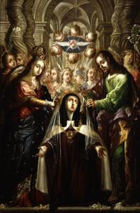 Villalpando.Santa Teresa recibe el collar y el velo, Templo de San Felipe Neri, La Profesa, Méjico