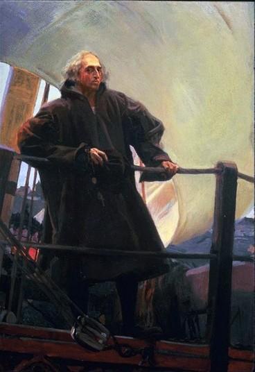 Cristóbal Colón saliendo de Puerto de Palos, 1910.Óleo sobre lienzo. 232x162cm.Donación de Archer Huntington.
