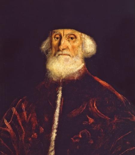 Jacopo Tintoretto. Retrato del procurador Jacopo Soranzo, 1550. Óleo sobre lienzo.76x50cm. Pinacoteca de Milán. Este personaje ocupó en el estamento sociopolítico veneciano un eslabón justo inferior al Dux.Vestimenta carmesí con estola,todo un ceremonial.