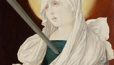 Hans Baldung Grien.Virgen Dolrosa 1516.Destinado para catedral de Friburgo,influenciado por Grünewald expresa el profundo sufrimiento físico y espiritual,la espada clavada en su corazón según profecía del anciano Simeón(Lc 2,34)analogía mariana de Cristo.