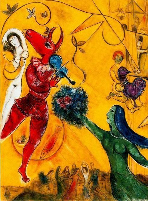 La danza, 1950-52. Centro Pompidou, Paris. La luz, desde la densidad rusa, la luminosidad de París hasta la evocación del nuevo edén en Saint Paul de Vence, encadena secuencias ilógicas, ritmo con el que se construyen los recuerdos, sus personajes vuelan