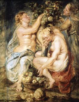 Boceto de Las Tres Ninfas con el Cuerno de la Abundancia 1625-28.Las tres figuras femeninas estan completando con frutas una cornucopia,la escena se inspira en la Metamorfosis de Ovidio.