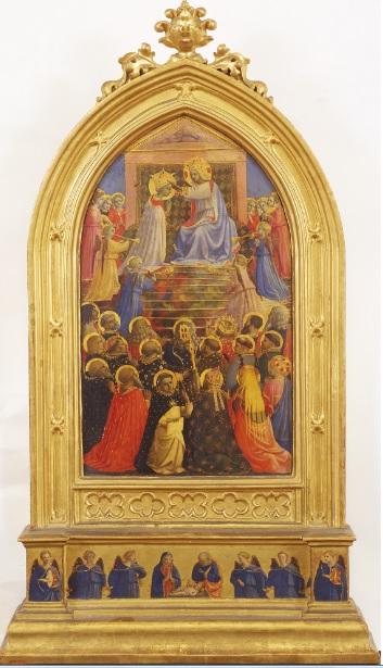 Era uno de los pequeños retablos que contenían las reliquias de santos en la iglesia dominica de Sta Maria Novella en FlorenciaLos otros 4 retablos de reliquias desaparecieron.Su composición ,azul y oro,Cristo corona a la Virgen arrodillada rodaeada