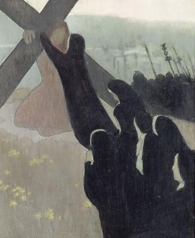 """El Calvario(Montée au Calvaire)Maurice Denis,postimpresionista,1889.De entre """"Los nabis"""" es sin duda el mayor cultivador del símbolo y el misterio a través de temas que sintetizan lo profano y religioso.Composición en diagonal ascendente  de la fe."""