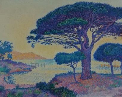 Paul Signac.Saint Tropez.Los pinos piñoneros en Les Canoubiers 1897.Óleo sobre lienzo.65x81cm.Musée de Saint Tropez.
