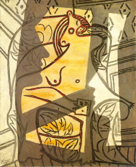 Mujer en un sillón 1927.Minneapolis Institute of Art.La figura desnuda está atravesada,parecen ser haces de luz de una ventana,el amarillo de la carne parece arder, entonces vemos fantasmas,rostros que amenazan...