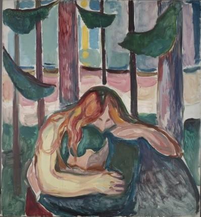 Mujer vampiro en el bosque,1916-18. En todas las versiones repite el mismo esquema:una mujer pelirroja envuelve con sus brazos y melena al hombre como víctima,un hombre en posición sumisa,abriendole toda su energía vital.