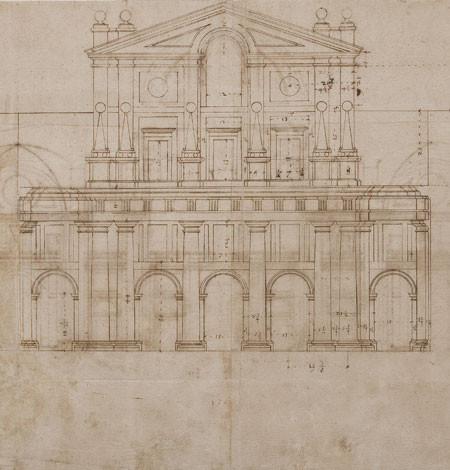 Juan de Herrera, fachada de la Iglesia, 1576. Dibujo a pluma y punzón, tinta sepia sobre papel verjurado.Patrimonio Nacional.